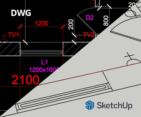 DWG / DXF failu imports SketchUP Pro programmā